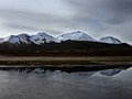 Snow capped mountain reflections, crossing from Chile into Bolivia at 4600m