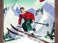 Chamonix France travel poster of skier vintage-like