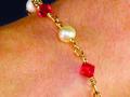 Pearl & Ruby Crystal Bracelet