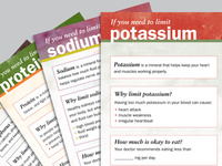 Set of four patient nutrition education tools. 8 panel roll fold. 4/4 on 80 lb. Vellum Bristol, gloss film laminate