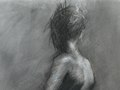 Walking toward Light, Charcoal on Paper, 19 x 25 inches, Named Winner in the Artist Network's Strokes of Genius 10 Competition